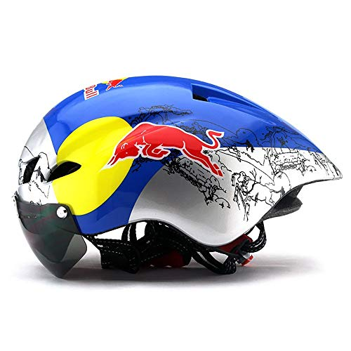 FHGH MTB-Helm MTB-Fahrradbrille Helm Fahrrad Pneumatischer Fahrradhelm Fahrradhelm Integriertes Design/Einstellbare KopfgrößE Red Bull 56-61CM