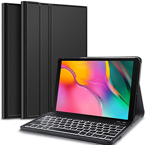 IVSO Hintergrundbeleuchtete Tastatur Hülle für Samsung Galaxy Tab A 10.1 2019 T515/T510, [QWERTZ Deutsches], Schutzhülle mit magnetisch abnehmbar Tastatur für Samsung Galaxy Tab A 10.1 2019, Iron