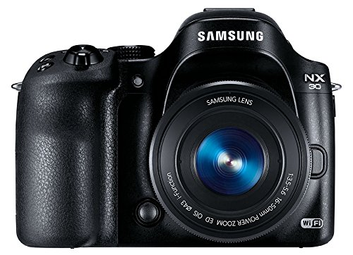 Samsung NX30 Smart Systemkamera (20,3 Megapixel, 7,6 cm (3 Zoll) Display, Full HD Video, WiFi, GPS, Adobe Photoshop Lightroom 5) inkl. 16-50 mm Powerzoom Objektiv schwarz