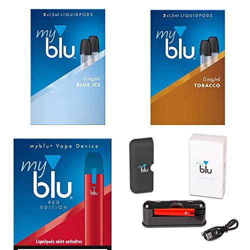 Myblu Megaset mit E-Zigarette Farbe Rot + 2 x Podpack Aroma Blue Ice und Tabak + Travel Case mit 3.000 mAh - Ohne Nikotin