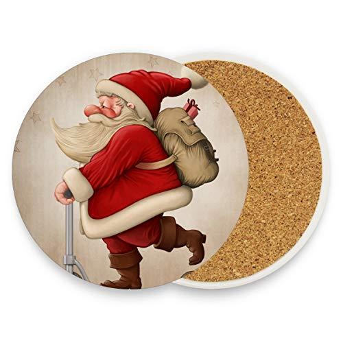 DEZIRO Kerstman en de Push Scooter Multi-Use Cup Mat Bescherm meubels tegen watermerken of schade zonder morsen, Warming Presents Decor 4 pieces set 1 exemplaar