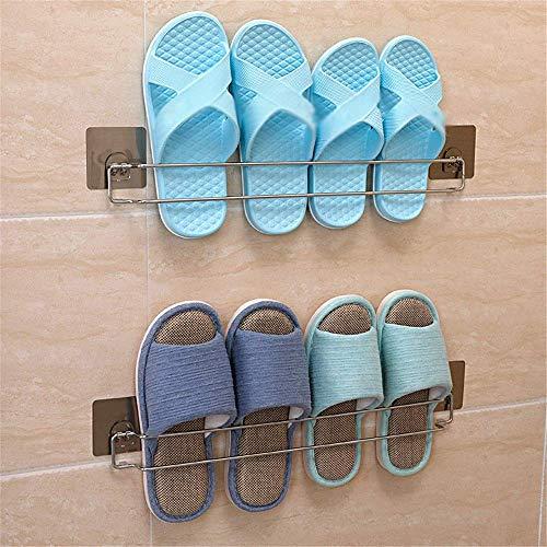 PYROJEWEL De acero inoxidable resistente al agua zapato de la puerta Organizador baño de metal colgando de zapatos de almacenamiento for Zapatilla con auto-adhesivo, 2 pack (Color: Metal, Tamaño: 48,3