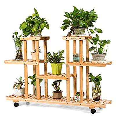 Giantex Rolling Flower Rack Wood Plant Stand on Wheels 6 Wood Shelves 12 Pots Bonsai Display Shelf Indoor Outdoor Yard Garden Patio Balcony Living Room Storage Rack Bookshelf Hollow Shelves