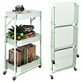 SAYZH 3 Tier Foldable Metal Rolling Storage Utility or Kitchen Cart with Wheels - Mint Green