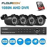 FLOUREON Système de Vidéosurveillance 8CH H.264 DVR 1080N + 4pcs 1080P Caméra de Sécurité 2.0MP 3000TVL Accès à Distance Via Smartphone/PC Disque Dur de 1TB