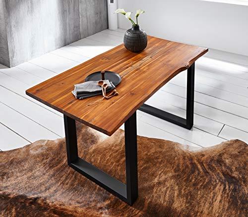 SAM Esszimmertisch 160 x 85 cm Ignacio, Baumkantentisch cognacfarben, Akazienholz massiv, U-Gestell aus Metall schwarz