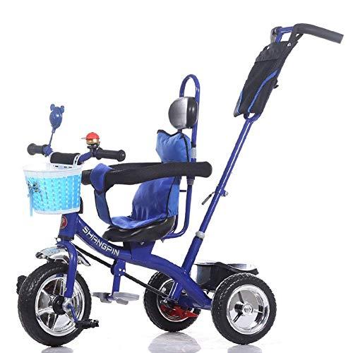 YGB Triciclo Ligero Triciclos Triciclos - Triciclo para niños con asa de Empuje y Compartimiento de Almacenamiento, Cochecito de bebé para niños para Viajar, de 1 a 6 años de Edad