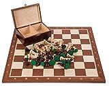 Square - Pro Schach Set Nr. 5 - Mahagoni - Schachbrett + Schachfiguren Staunton 5 + Kasten - Schachspiel aus Holz -