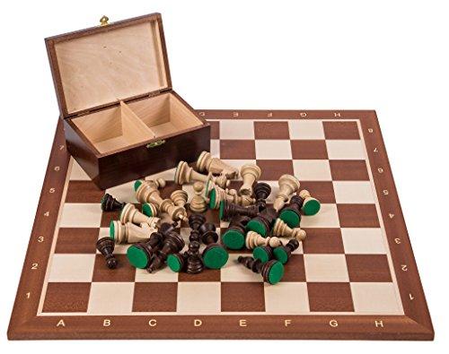 Square - Pro Schach Set Nr. 5 - Mahagoni - Schachbrett + Schachfiguren Staunton 5 + Kasten - Schachspiel aus Holz