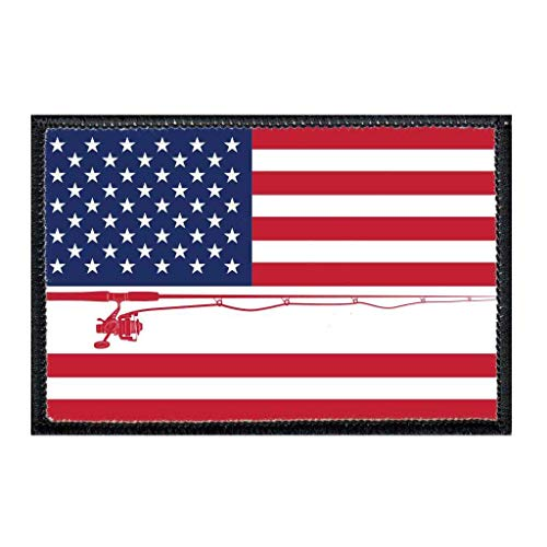US Flag - Fishing - Color Morale Patch | Hook and Loop Attach for Hats, Jeans, Vest, Coat | 2x3 in | by Pull Patch