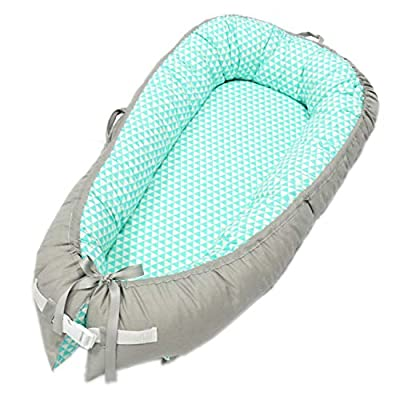 Portable Baby Lounger and Baby Nest Perfect for Co Sleeping Baby Bassinet,Soft & Breathable 100% Cotton,Adjustable Reversible Baby Cribs for Bedroom/Travel