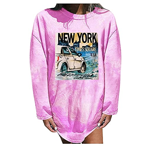 Vintage Graphic Tees Shirt for Womens Long Sleeve Tops Casual Crewneck Pullover Car Print Blouse