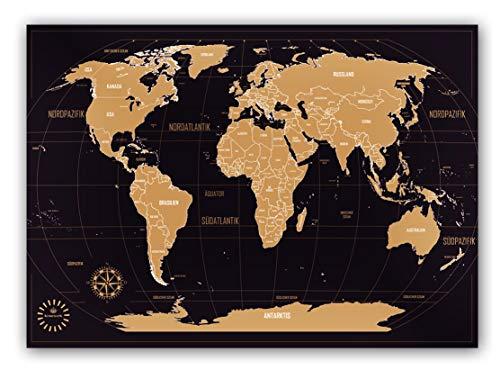 *Weltkarte zum Rubbeln – Kronewerk – Deutsch – Kreatives Geschenk für Vielreisende inkl. eine edle Zylinderbox, XXL Poster, World map for Scratching, Landkarte zum Freirubbeln, Top Geschenkidee*