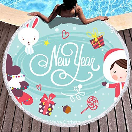 HXshqian Ronde strandhanddoek, voor Kerstmis, zachte doek, meditatie, strandlaken, badhanddoek