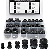 """MAKERELE Cord Grip Cable Glands Kit for Electrical Box NPT Waterproof Nylon Strain Relief 1/4"""" 3/8"""" 1/2"""" 3/4"""" 1"""" 1-1/4"""" 50pcs Junction case Connector Black With Gaskets"""