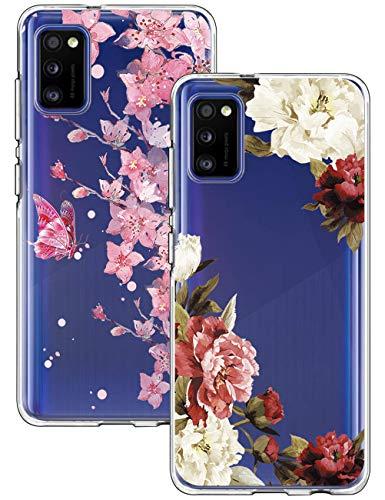 kinnter 2 Pack Hülle Kompatibel mit Samsung Galaxy A41 Silikon Hülle Blume Marmor Handyhülle 360 Grad Schutzhülle Ultra Soft Rückschale TPU Bumper Case Cover für Samsung A41
