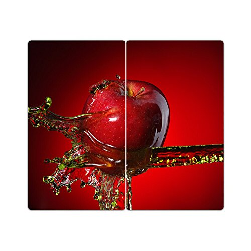 DekoGlas Herdabdeckplatten Set inkl. Noppen aus Glas 'Motiv Apfel', Herd Ceranfeld Abdeckung, 2-teilig universal 2X 52x30 cm