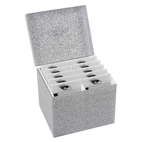 Wear Resistant Eyelash Storage Box Eyelash Extension Storage Box for Home Use for False Eyelash(Silver storage box)