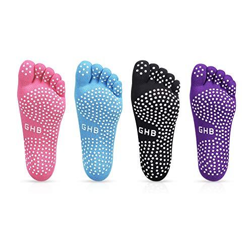 GHB 4PCS Pilates Socken mit Zehen Rutschfeste Sportsocken mit Gummisohlen Atmungsaktivität ideal...