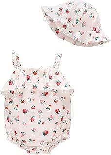 Qinlee Kinder Hut Erdbeer-Welle Baby Baumwolle Fischerhut Kinder Sonnenhut Kids M/ütze Aufdruck Kleinkinder Sommerhut UV Schutz Kinderm/ütze Sonnenschutz Kopfumfang 50cm