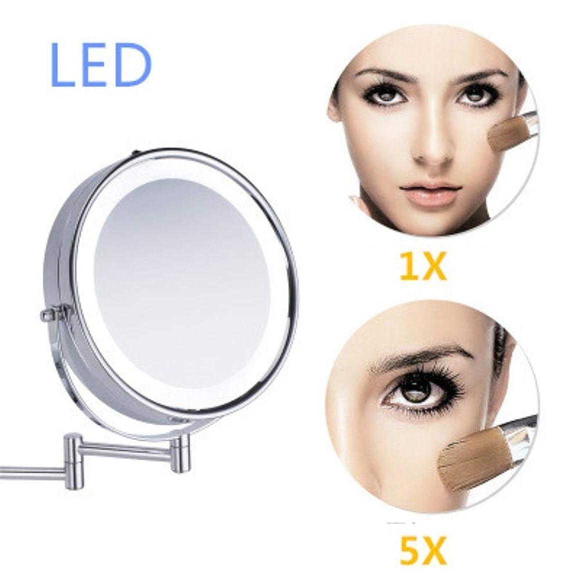 サイズロマンス代わりのYXZQ化粧鏡、8.5インチ金属化粧鏡2面LEDライト5X増幅伸縮アームバスミラー