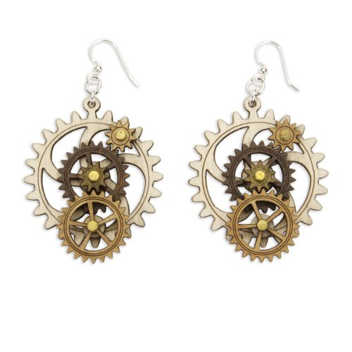 ComputerGear Steampunk Gears Earrings Kinetic Moving Gear Wooden STEM