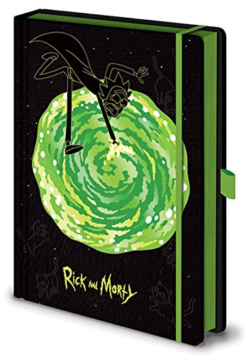 RICK AND MORTY Notebook Portals Logo Official Black Premium A5