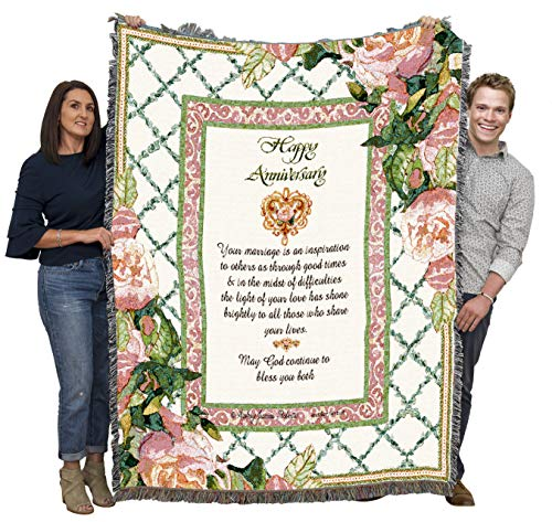 Happy Anniversary - Audrey Jean Roberts - Cotton Woven Blanket Throw - Made in The USA (72x54)