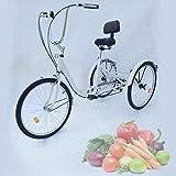 Generic Vidanis - Triciclo de 6 marchas para adultos, 24', 3 ruedas, bicicleta + cesta