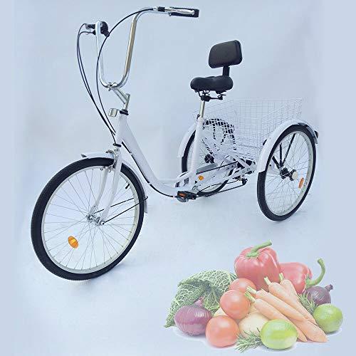 24 pulgadas, 6 velocidades, 3 ruedas, para adultos, triciclo, cruise, bicicleta, sillín, suspensión delantera, cesta, triciclo, pedal, cesta de compras, para deportes al aire libre, Blanco