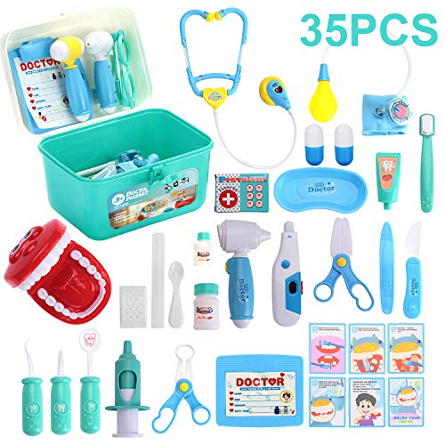 Kids Toys Doctor Kit with 35 Pieces Dentist's Equipment, Durable Medical Kit Pretend Holiday/Birthday Gift for Kids, Packed in a Sturdy Gift Case