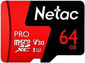64GB Micro SD Memory Card - Netac P500 PRO V30 UHS-I U3 High Speed MicroSDXC TF Card with Adapter