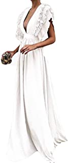 Auimank Women Plus Size Solid Vintage Fly Sleeve Back Hollow V-Neck Long Party Dress