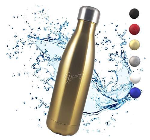 YOUNG• Vakuum Isolierte Edelstahl Trinkflasche, Auslaufsichere Wasserflasche Wiederverwendbare BPA FREIE Thermosflasche Kohlensäure geeignet 500ml / 750ml