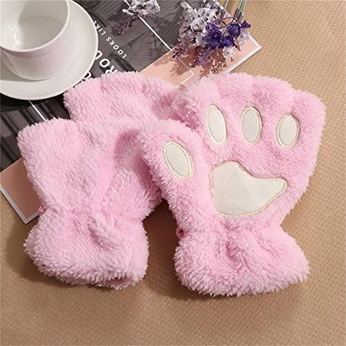 1 par de Guantes sin Dedos cálidos de Invierno encantadores para Mujeres y niñas, Guantes mullidos de Oso Gato, Garra de Felpa, Guantes de Medio Dedo, manopla-Pink-One Size