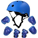 DAZUAN自転車 ヘルメット こども用 キッズプロテクターセット 3-8歳向け 調節可能 軽量 高剛性 通気性 サイクリング スケートボード ローラースケート 保護用 子供 自転車 プロテクター 子供のヘルメットプロテクター(青い)