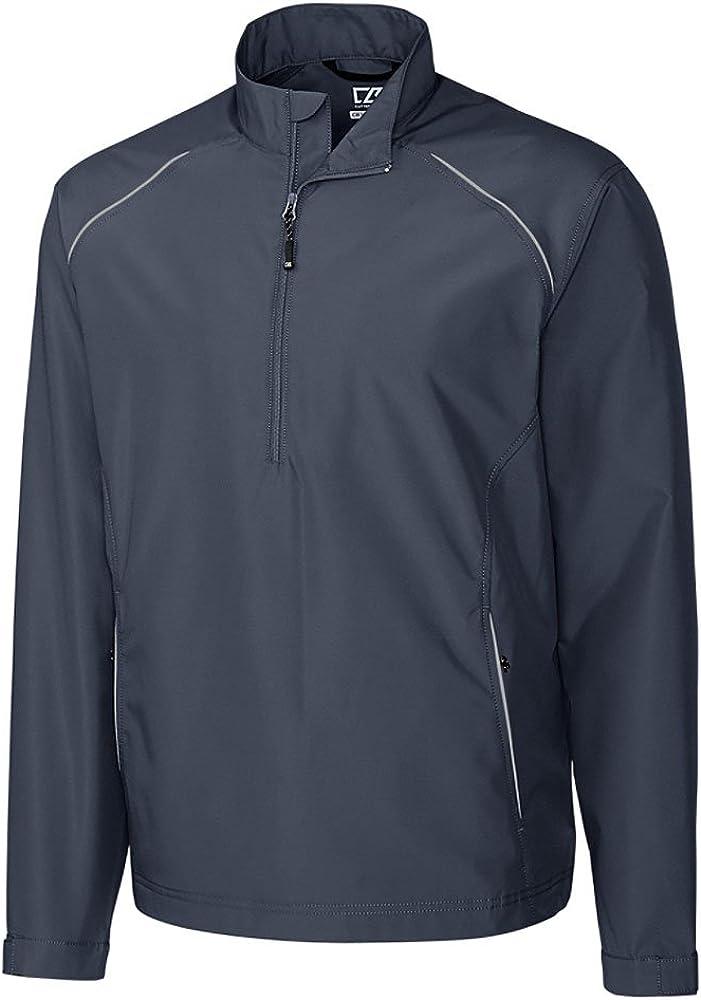 Cutter & Buck BCO00922 Men's CB Weathertec Beacon Half Zip Jacket Onyx LT