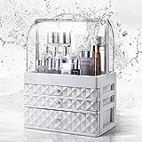 VISIONGOOD Boîte de rangement en acrylique blanc pour cosmétiques, maquillage, bijoux, 3 tiroirs + housse anti-poussière pour commode, chambre, salle de bain