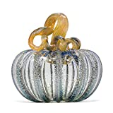 Luke Adams Glass | 5' Squat Glass Pumpkin | Handmade Table Top Home Décor | Outdoor Collectible Sculpture (Happily Ever After)