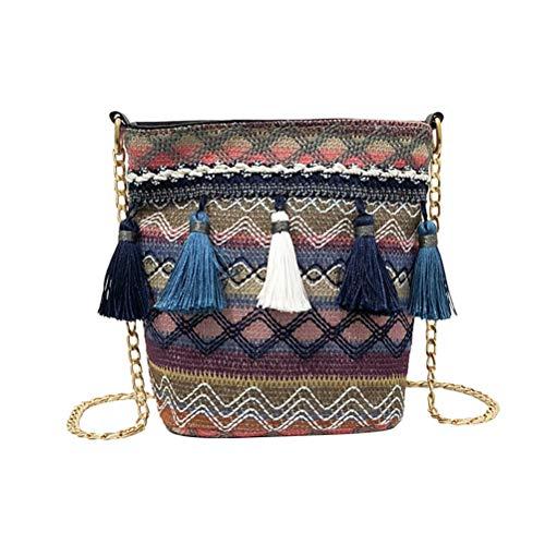 TENDYCOCO Bolsos Boho Bolso de Crochet Crossbody Organizador Bolso con Ganchillo Bolso con Borla (Azul Marino)