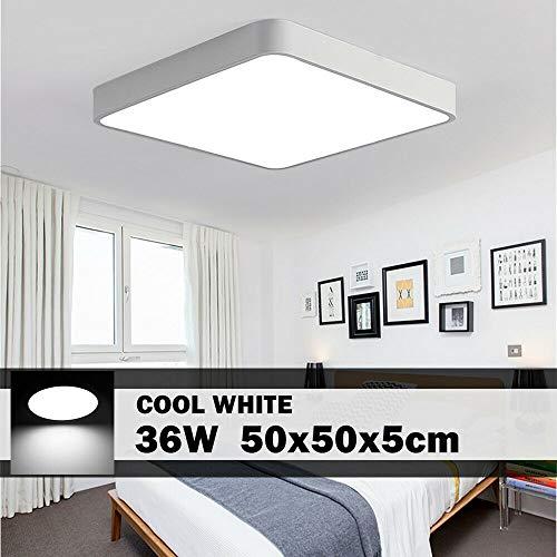 Plafonnier LED, 24W 36W 48W 72W imperméable LED Plafonnier - 100lm/W Moderne mince carré LED Lampe de plafond, Applicable à salle de bain chambre cuisine salon balcon (Blanc Froid, 36w 50 * 50cm)