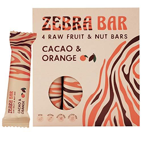 Zebra Bar, Frucht- & Nussriegel, Cacao & Orange, ohne künstlichen Zucker, roh, vegan, gluten- und laktosefrei, 4 x 35 Gramm