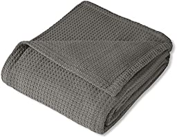 Sweet Home Collection 100% Fine Cotton Luxurious Basket Weave Blanket, Dark Gray