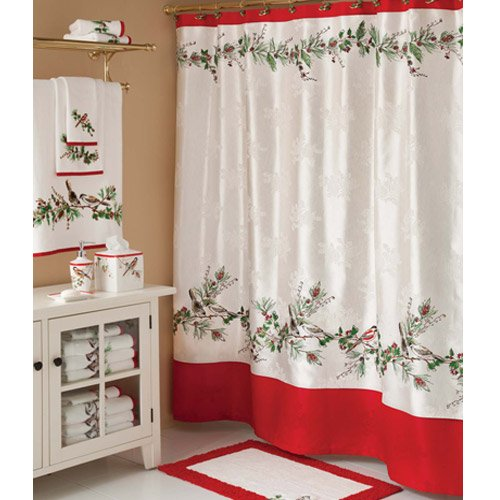 Winter Song Christmas Shower Curtains and Towels Set
