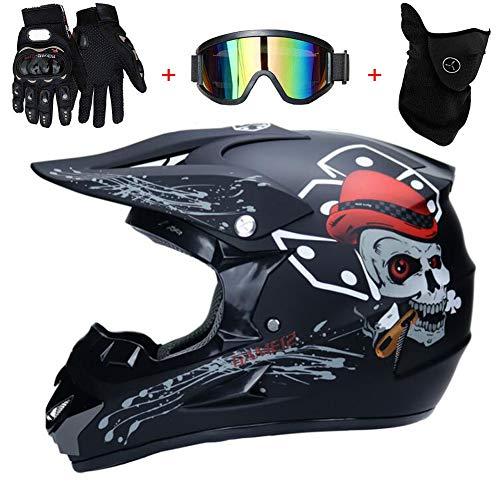 TKUI Casco Moto Teschio Nero Bambino Motocross Integrale Caschi Bambini Motard Cross Integrali Downhill DH ECE Omologato Ragazza Ragazzo,S(52~53cm)