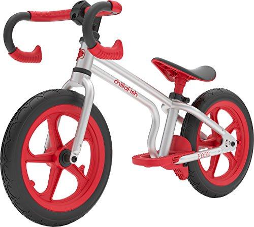 Chillafish Fixie Fixed Gear-Bicicleta de Equilibrio con reposapiés Integrado, Freno de pie y neumáticos de Goma sin Aire, Color Rojo, Unisex bebé, Rosso, 2-5 Años
