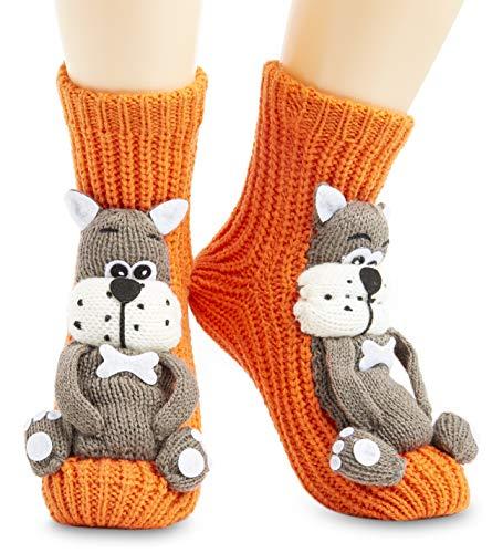 CityComfort Fluffy Thick Slipper Socks Novelty Animal Socks Cat Dog Penguin Unicorn Non Slip Socks, Ladies Funny 3D Knitted Gifts For Women Girls Stocking Fillers (Orange)
