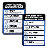 Employee Must Wash Hand Sign: 5'x7' Plastic Sign for Businesses with Easy Mount Adhesive Strips (Pack of 2)