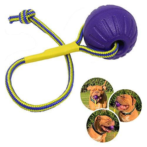 Rosi's Barf-Glück Premium Hundeball mit Seil ⌀ 7cm Hunde Wurfball Tau – Wasser Hundespielzeug Ball mit Schnur für Hunde