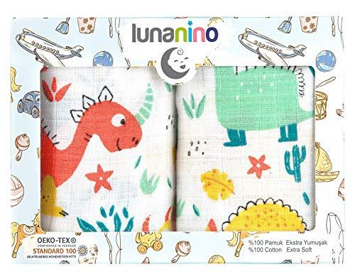 Lunanino - Mantas de muselina con certificado Oeko-Tex 100% algodón de muselina multiusos para bebés, paños de muselina ultra suaves para niñas o niños, en caja de regalo (juego de 2)